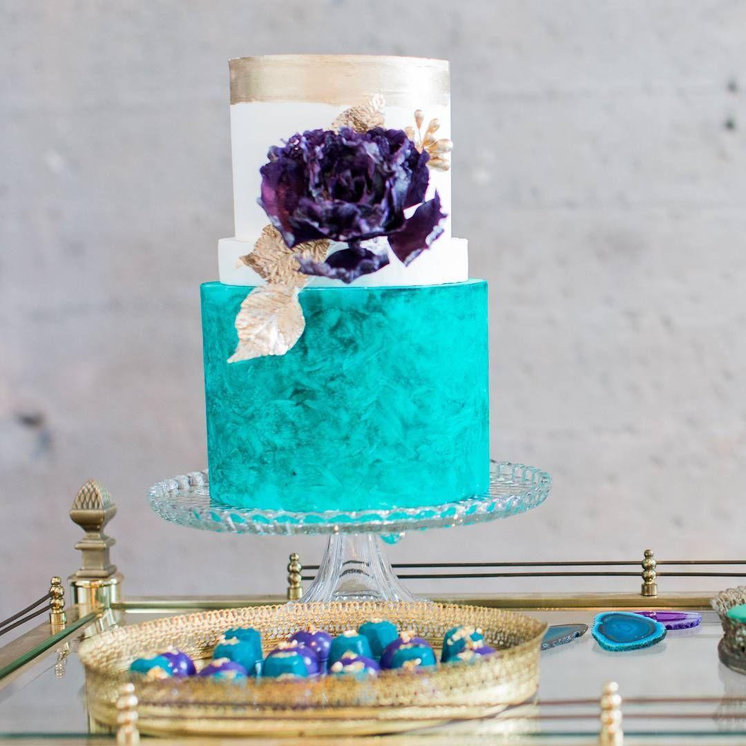 Beautiful Turquoise Gold And Purple Wedding Cake Purple And
