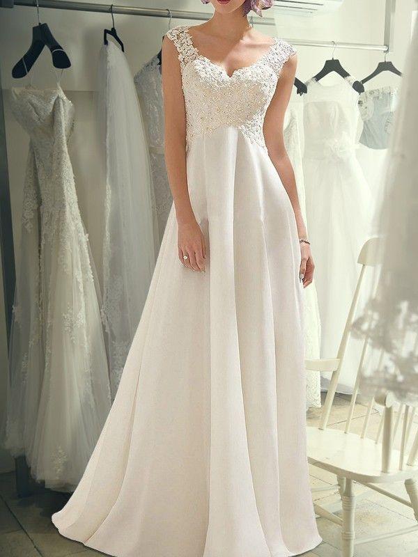 Empire Ivory Floor-Length Lace Chiffon Wedding Dresses #lacechiffon