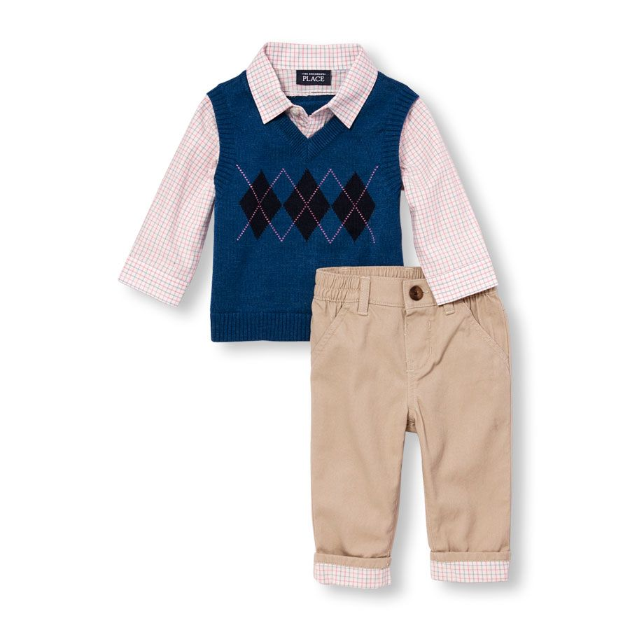 588869f7e Baby Boys Long Sleeve Faux-Layered Argyle Sweater Vest And Plaid ...