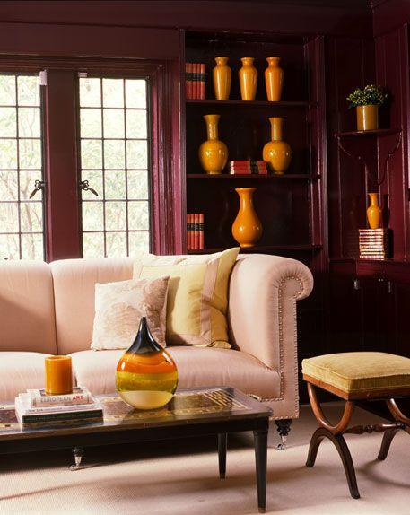 pumpkin orange vases to complete this room #pink #orange #interiordesign #homedecor #furniture #livingroom