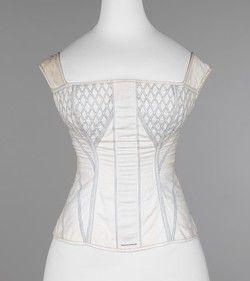 Corset Date: 1830–35 Culture: American Medium: cotton, bone Dimensions: 21 in…
