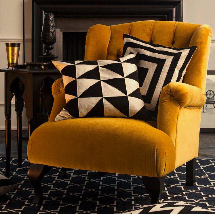Armchair velvet yellow living room home home decor