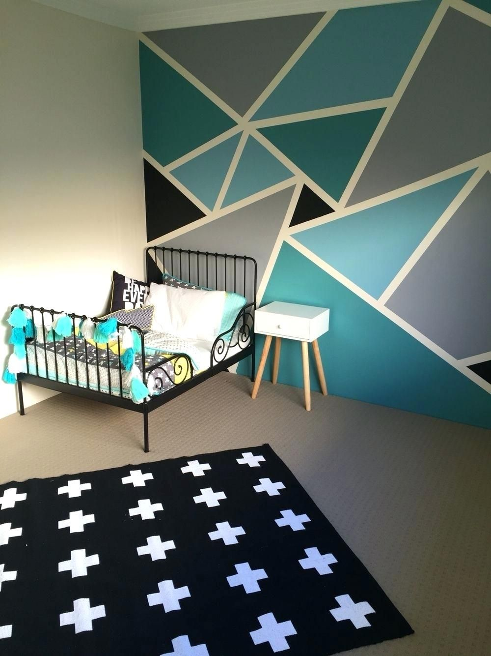 best of wall paint design ideas with tape and geometric ...