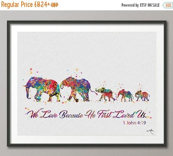 elephant watercolor print family mom dad and baby family bible