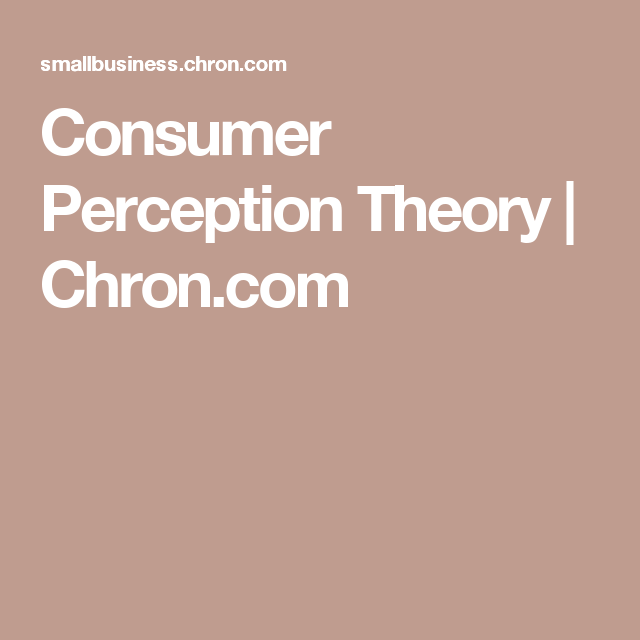Consumer Perception Theory Perception Theory Perception Theories