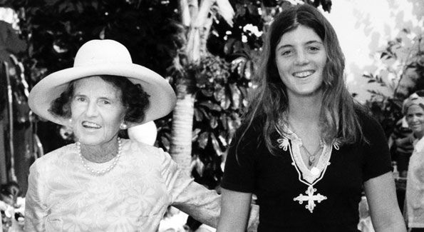 """Rose Kennedy and Caroline at a private party in Palm Beach, March 1975. Rose declared: """"If Caroline's mother knew she was wearing those cut-offs, she wouldn't be very happy!"""""""