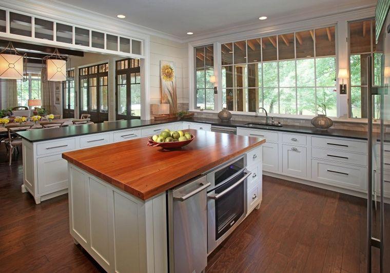 Piano Di Lavoro Per Cucina In Legno.Cucina Bianca Con Isola Centrale In Forma Rettangolare E