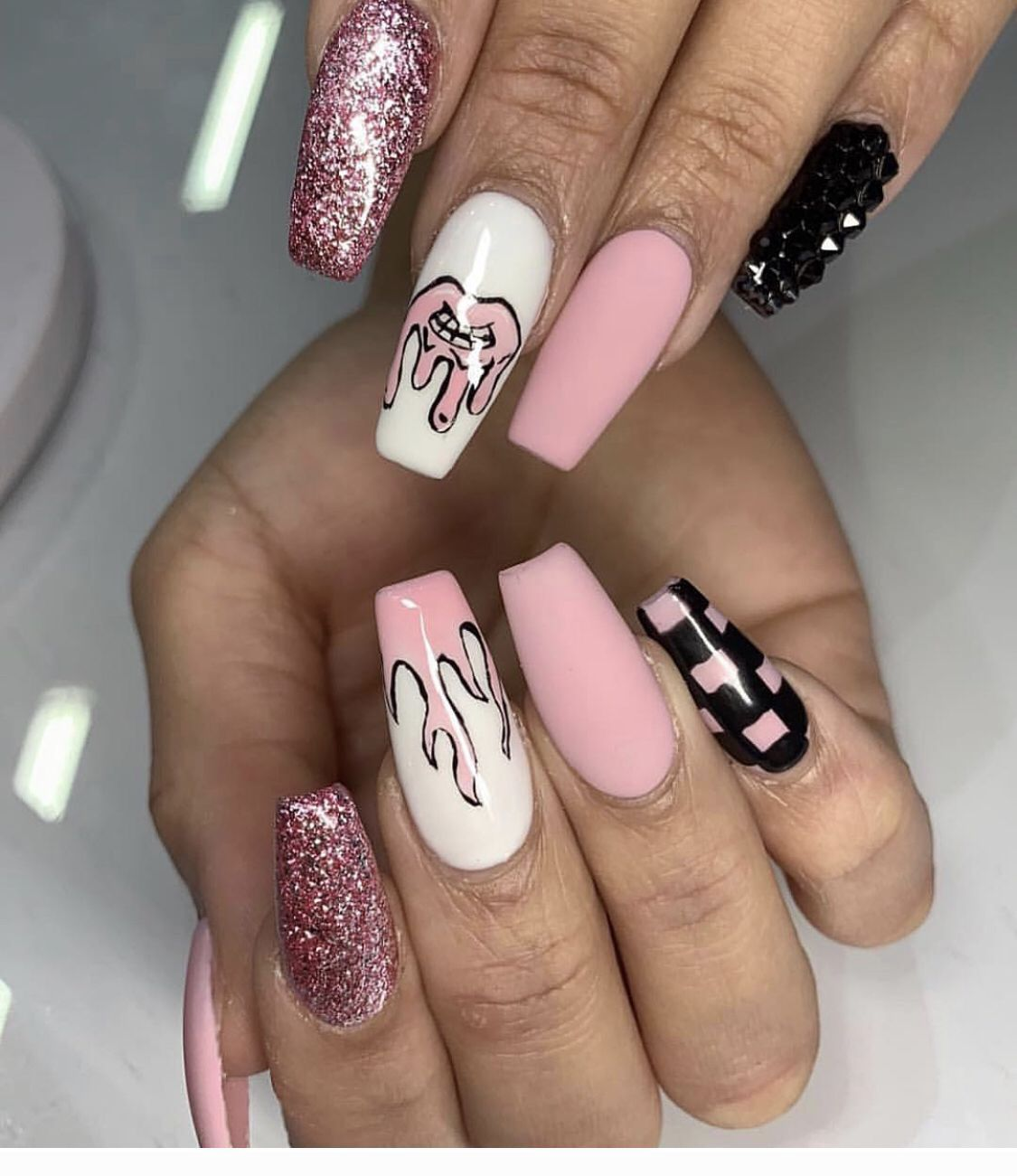 Black White Pink And Glitter Nail Art Coolladies Net In 2020 Edgy Nails Checkered Nails Swag Nails