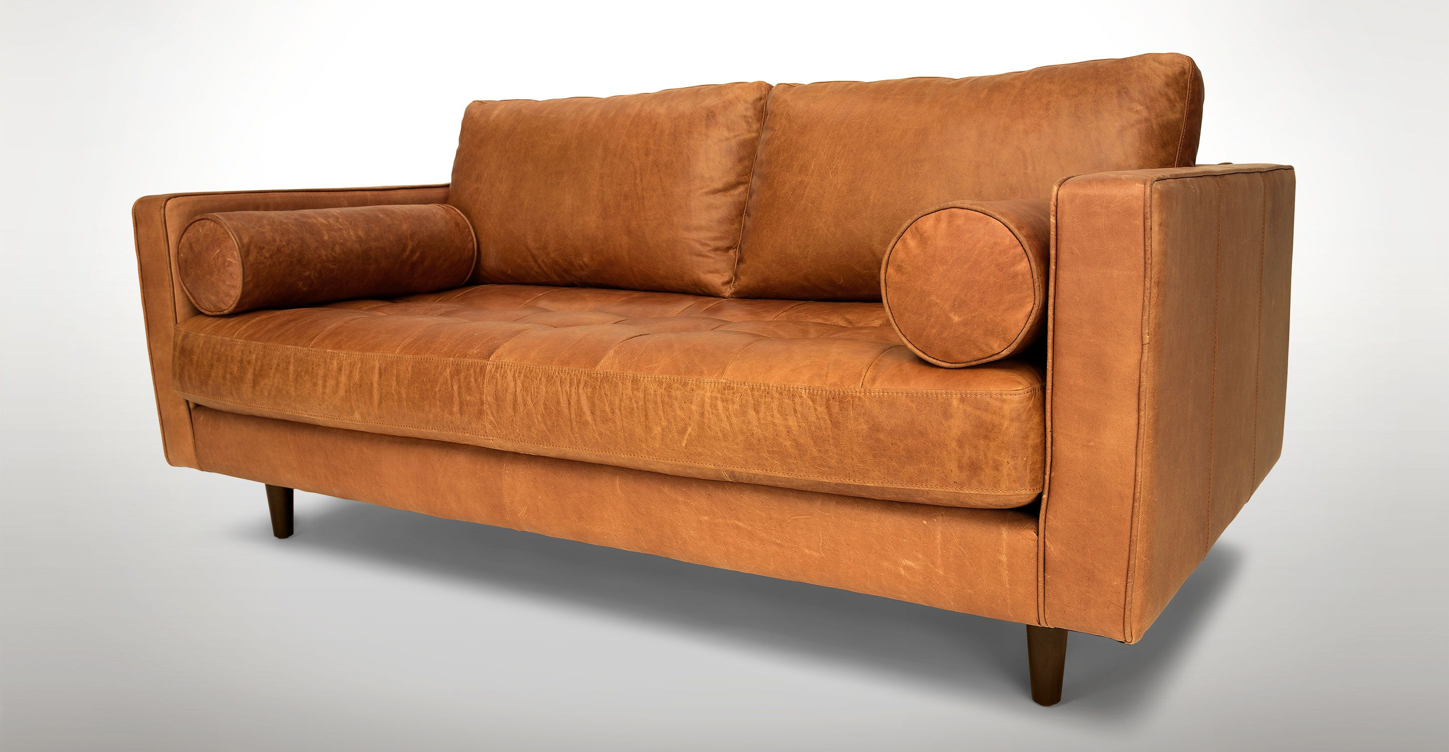 Tan Brown Leather Sofa With Steel Legs