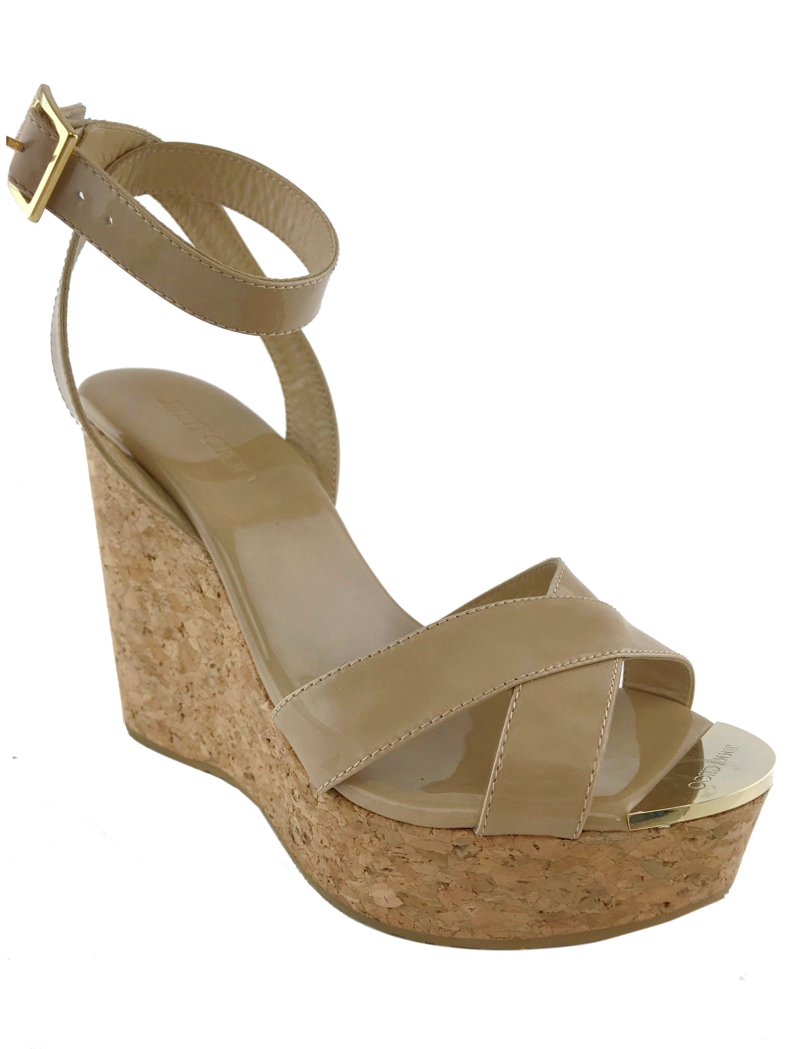 82fd1589e8b Jimmy Choo Papyrus Patent Cork Wedge Size 6.5 in 2019