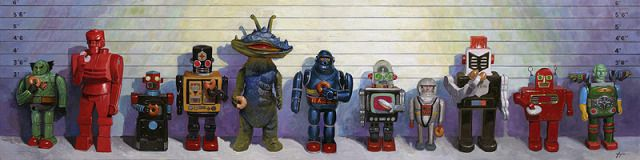 Pin By Gio Gio On Paintings Eric Joyner Vintage Robots Painting Prints