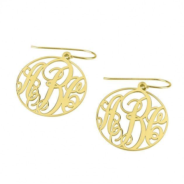 24k Gold Plated Monogram Earrings