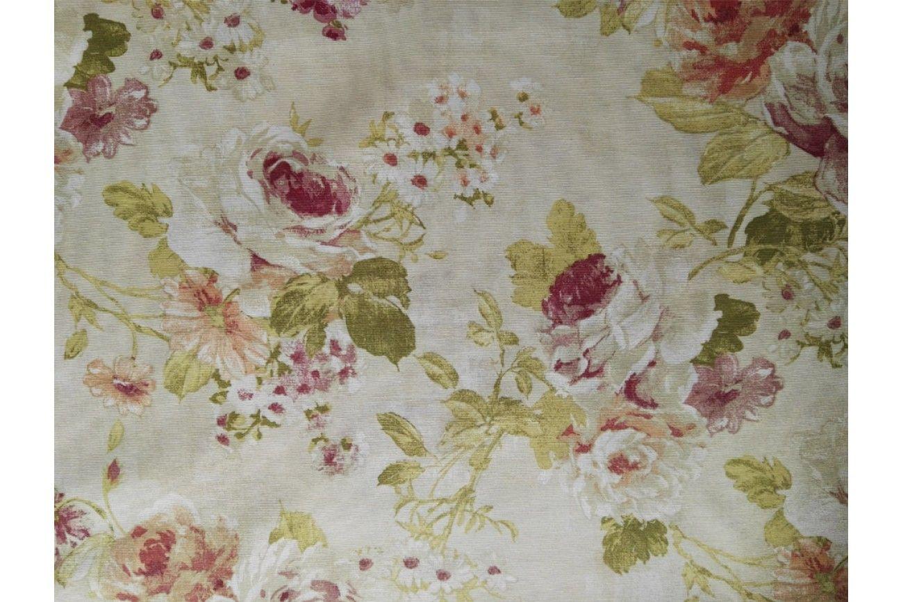 Loneta estampada de flores rojas y blancas empleada para diversas labores como cortinas - Loneta para tapizar ...
