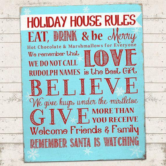 Christmas Subway Art Print Holiday House Rules by ValeriePullam ...