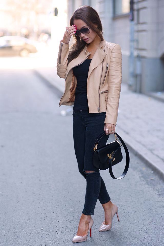 Beige Leather Jacket Outfit | Inspiration gesucht: Outfits