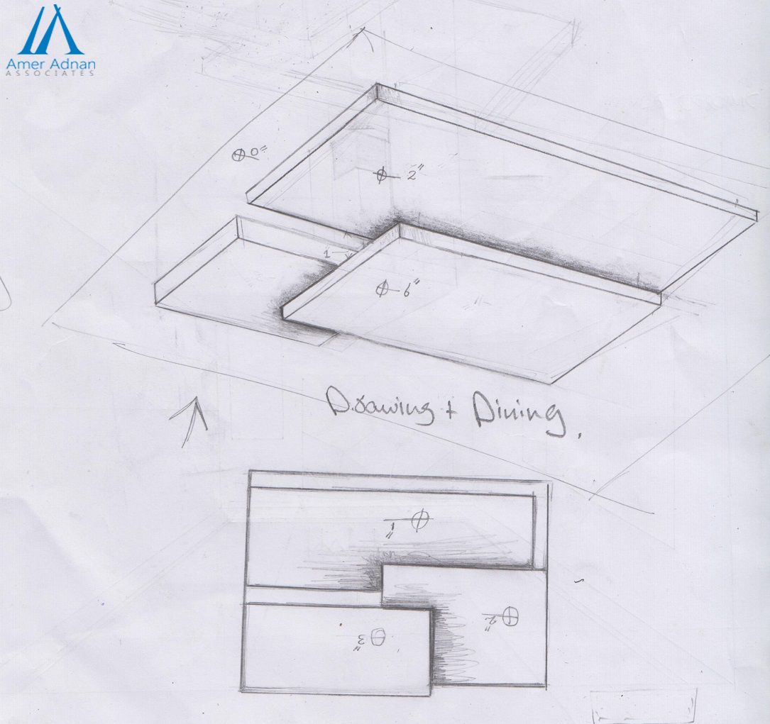Modern Interior Design Sketch Work Idea For Drawing And Dining Room By AAA