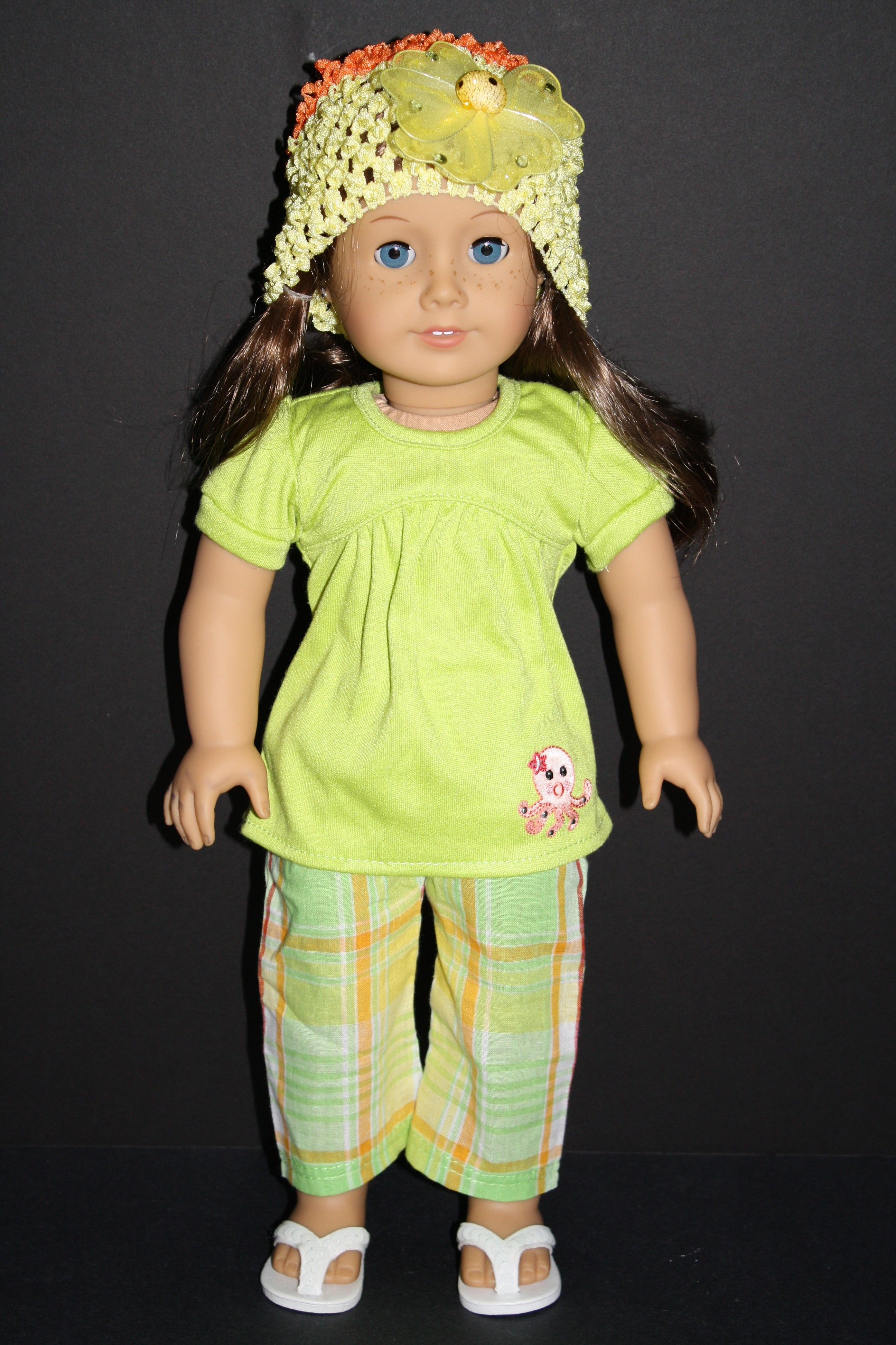 Plaid Capri Pants With Long Green T-Shirt and Hat for American Girl Doll $15.00