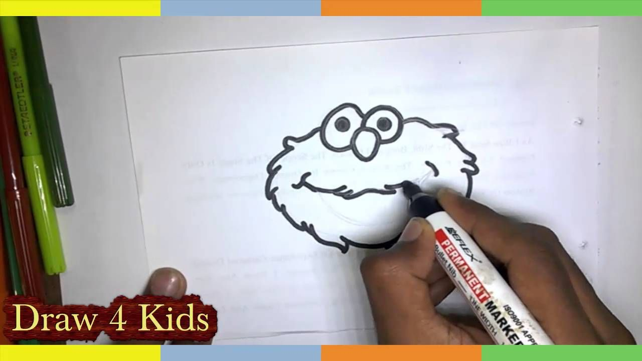 how to draw elmo step by step from sesame street easy drawing tutorial