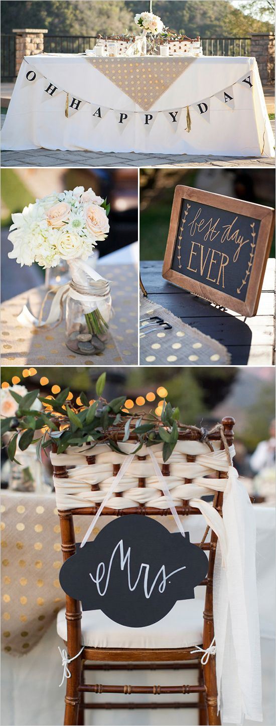 """Sweet heart table ideas with cute bunting and """"Best Day Ever"""" chalkboard sign. Captured By: Alyssa Marie Photography --- http://www.weddingchicks.com/2014/05/09/lucky-penny-wedding-tradition-you-will-love/"""