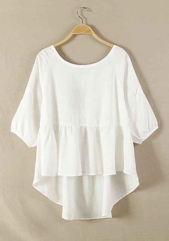 White Plain Hem Irregular Loose Cotton Blend Blouse | White plains ...