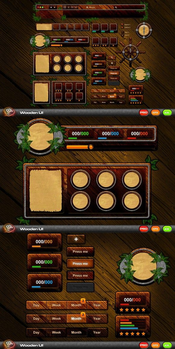 Wooden Game UI Kit  UI Elements  $20 00 | Zap Box in 2019
