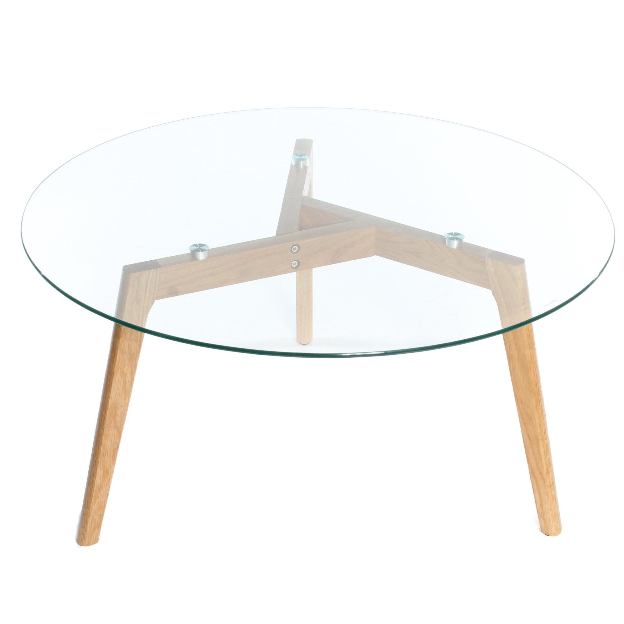 Charles Jacobs Round Coffee Table With Solid Wood Oak Legs And