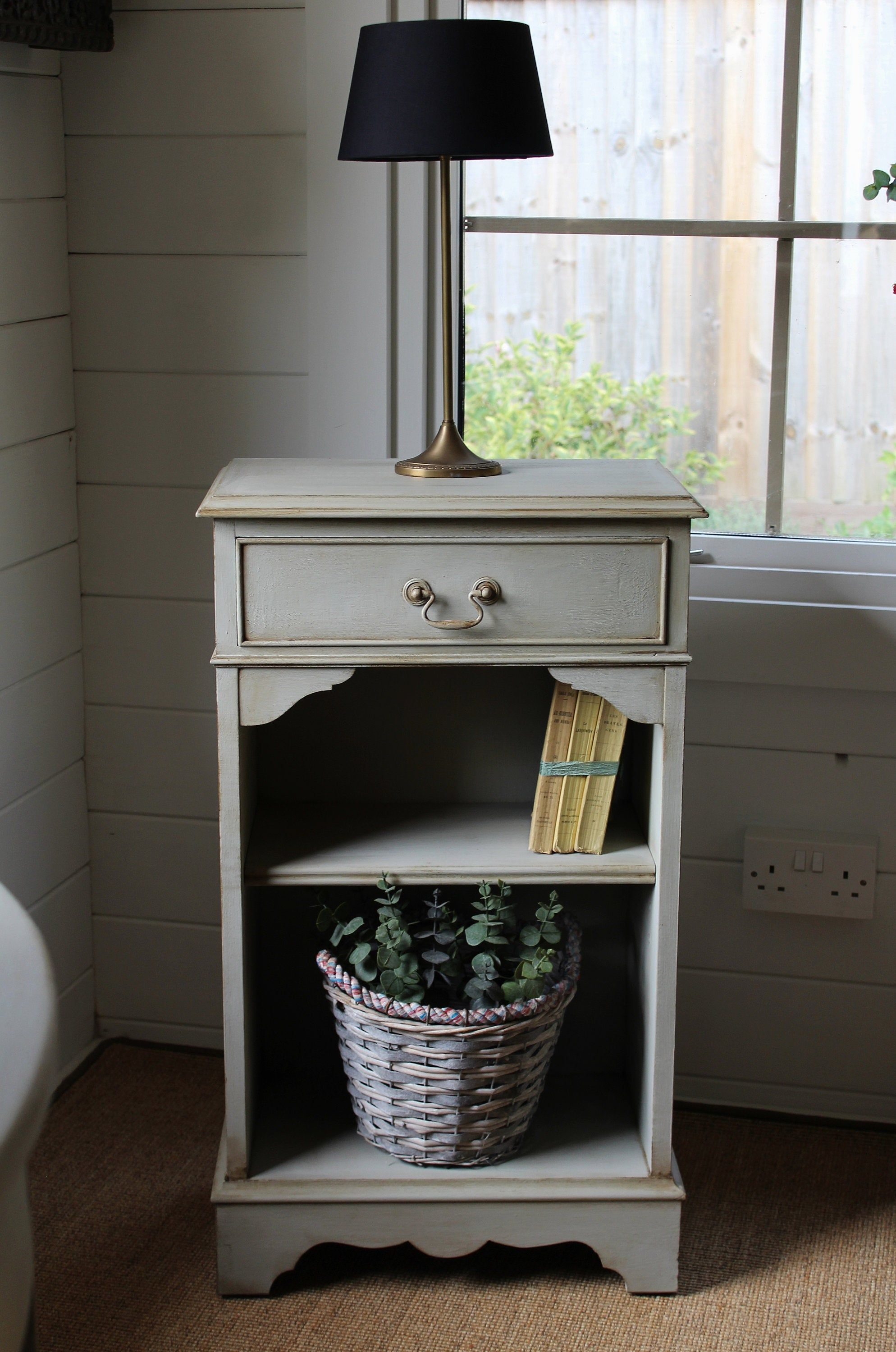 Gustavian Style Hand Painted Bedside Table Storage Unit With