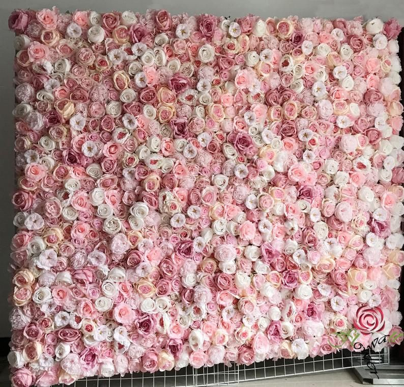 Artificial Flower Wall Backdrop For Baby Shower Floral Wall Panel Wedding Wall Arrangement Simulation Floral Panel For Photography 40 60cm In 2020 Flower Wall Backdrop Wedding Wall Flower Wall