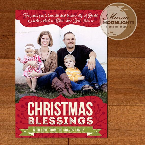 Christmas Blessings Modern Printable Holiday Christmas Photo Card 4x6 or 5x7 in Red or Green - DIY You Print