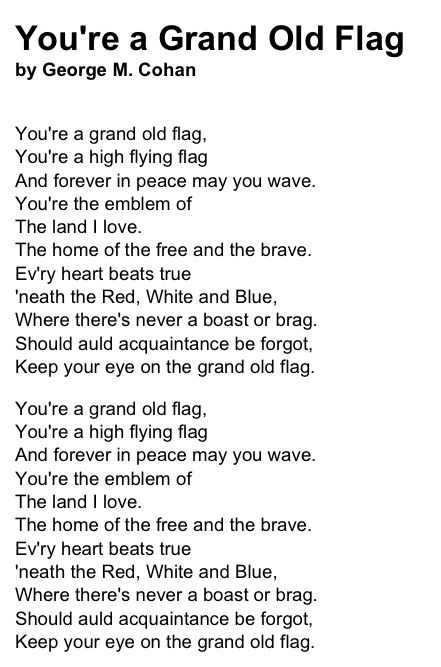 You Re A Grand Old Flag Flag Flying Flag Songs
