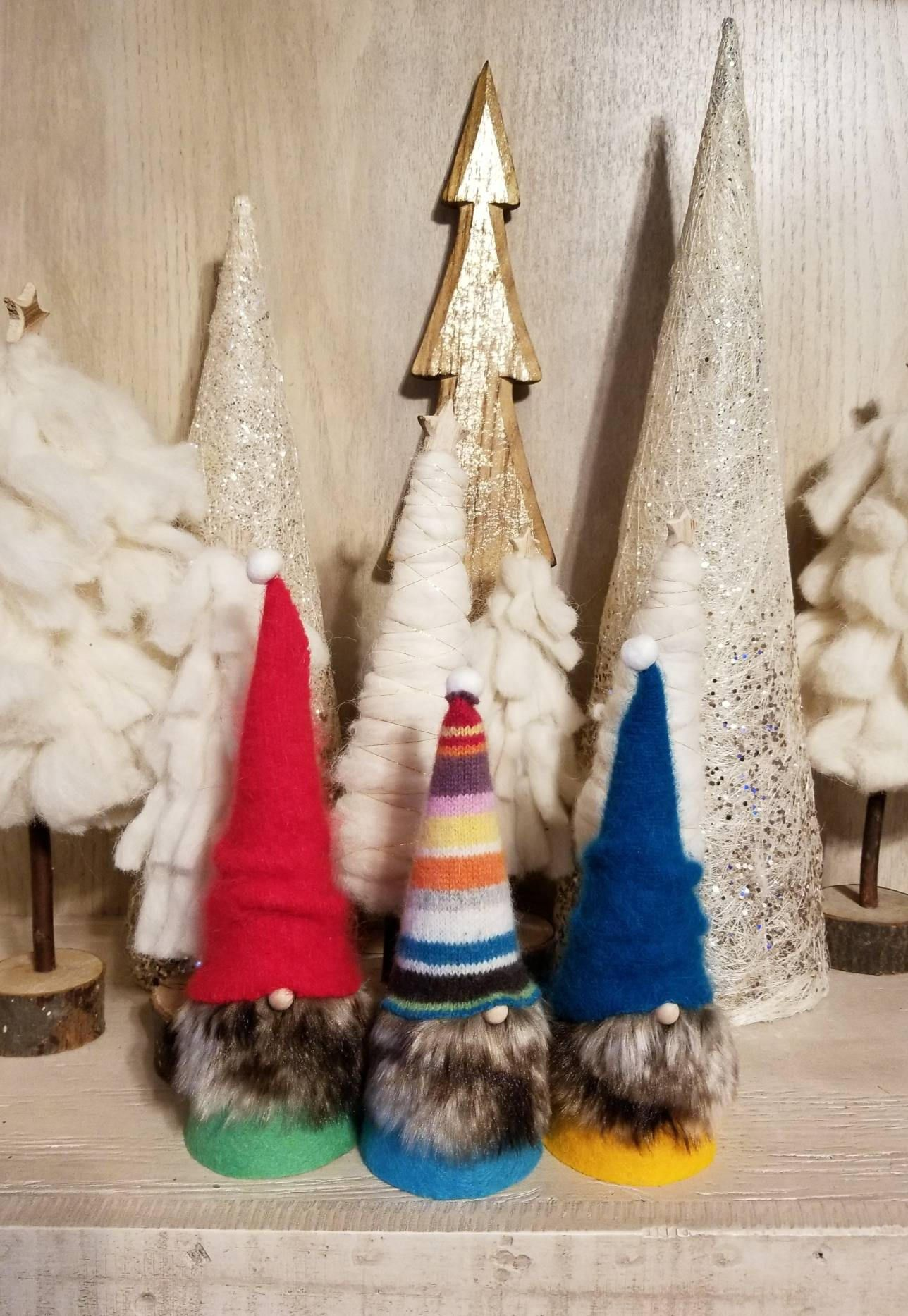 Christmas Gnomes Swedish Tomte Nisse Scandinavian Folklore Wizard Set Of 3 Cute Gift Idea Group N By Gnomes4t Christmas Gnome Cute Gifts Swedish Tomte