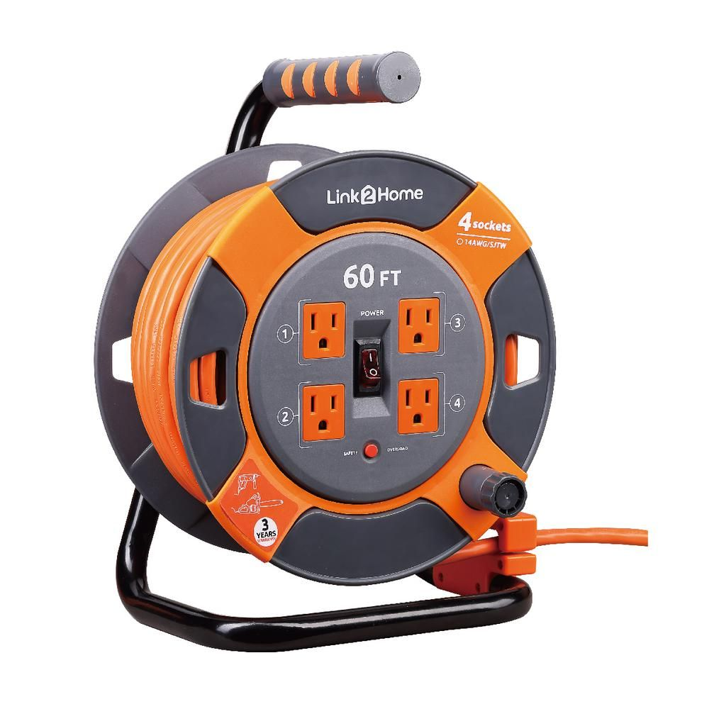 Link2home 60 Ft 14 3 Extension Cord Storage Reel With 4 Grounded