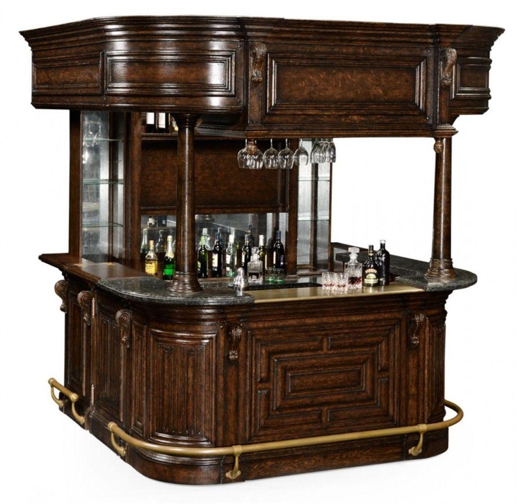 Home bar. Oak wood granite top with brass rail and canopy.  sc 1 st  Pinterest & Home bar. Oak wood granite top with brass rail and canopy ...