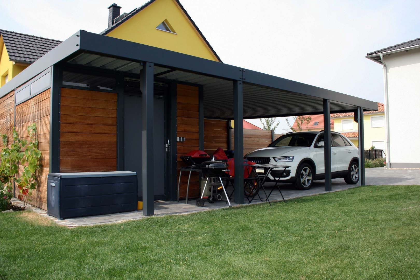 doppelcarport carport bauhaus mit abstellraum aus hpl trespa. Black Bedroom Furniture Sets. Home Design Ideas