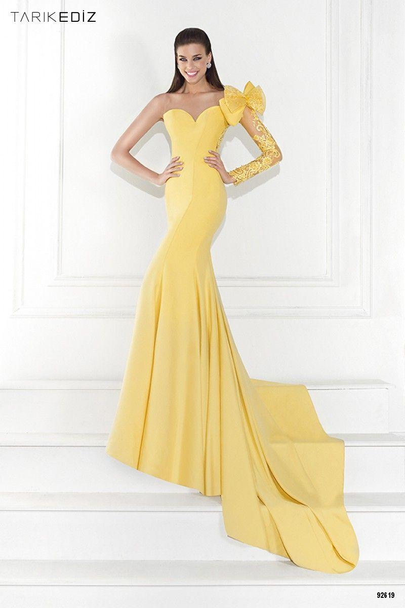 yellow satin a line sweetheart evening dress