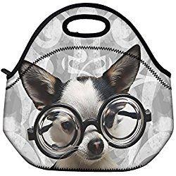 Glasses Dog Lunch Bag Tote Cooler Lunchbox Handbag Food Storage