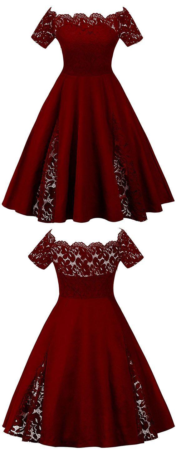 Elegant burgundy lace homecoming dressoff shoulder short sleeves