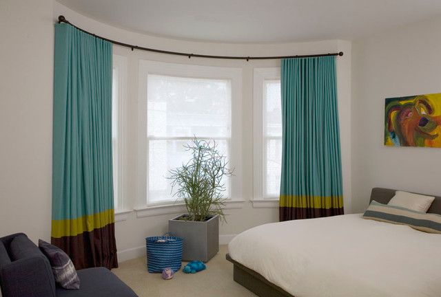 Remarkable Ways To Inspire With Striped Curtains Bay Window Curtains Woman Bedroom Contemporary Curtains