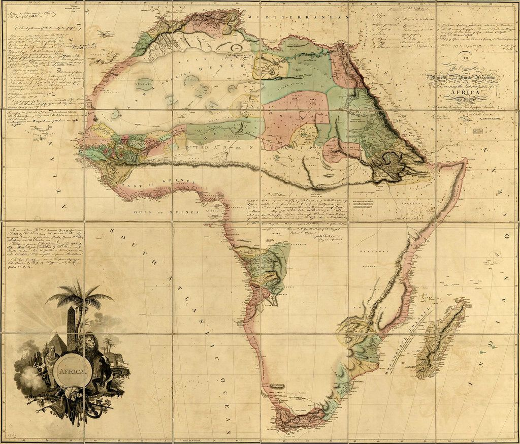 Old map from AFRICA in 1902. Contributor Aaron Arrowsmith in 1802.