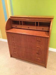 Mid Century Teak Secretary Dresser Desk
