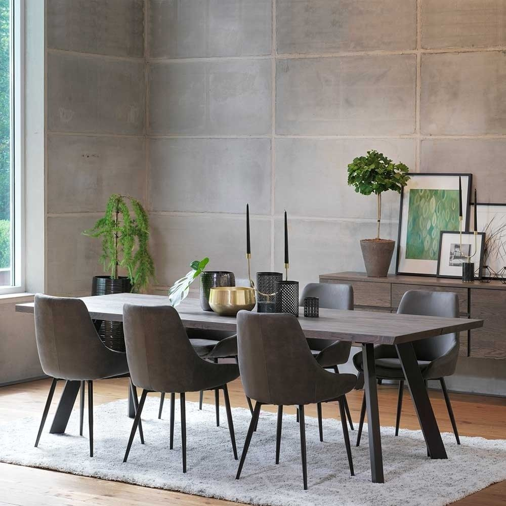 Eiche Rauchfarben Tisch & 45 Stühle Namac in Dunkelgrau (45-teilig