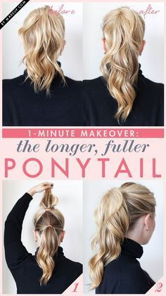 1-Minute Makeover: The Longer, Fuller Ponytail #fullerponytail Looking for high-volume hair? We'll show you how to create the perfect casual updo: a longer, fuller ponytail! #fullerponytail