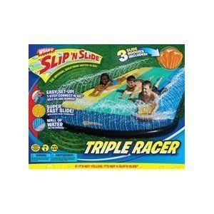 Slip N' Slide Triple Racer with Slide Boogies by Wham-O. $27.23. Three rides can race at the same time.. Super easy water connection that extends beyond the water bumper!. 3 inflatable Slide Boogies. New Feature: Hydro-Glide Technology. 16 feet in length. From the Manufacturer                Race your friends with the Wham-o Slip N Slide Triple Racer w/ Slide Boogies!                                    Product Description                Wham-o Slip 'N Slide Triple Rac...