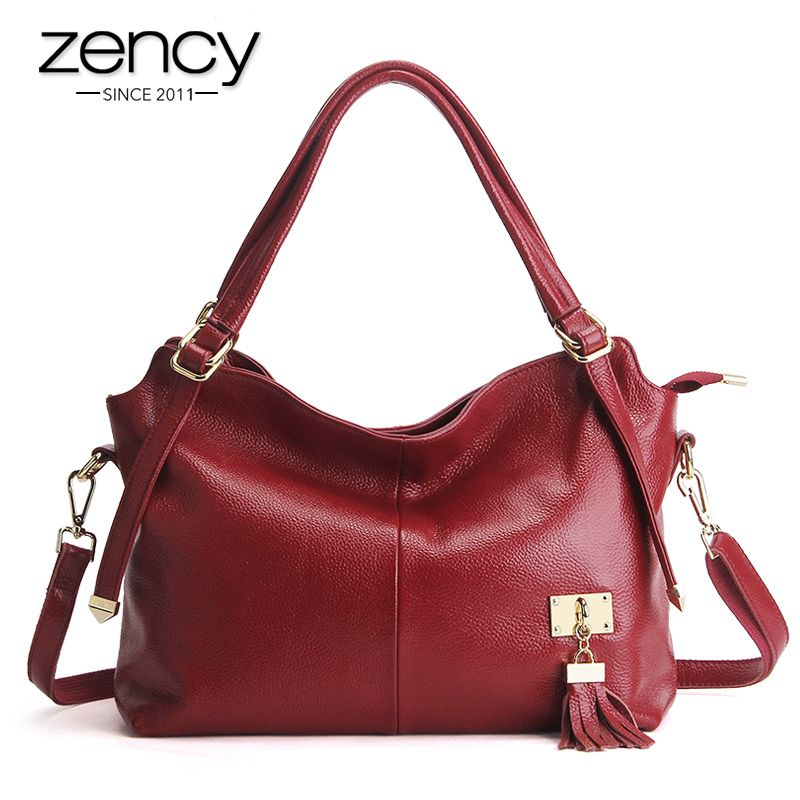 6dd5b50a8256 New American LUXURY Tassel 100% Soft Genuine Leather Women Shoulder Bag  Brand Ladies Designer Handbags Crossbody Purse Satchel