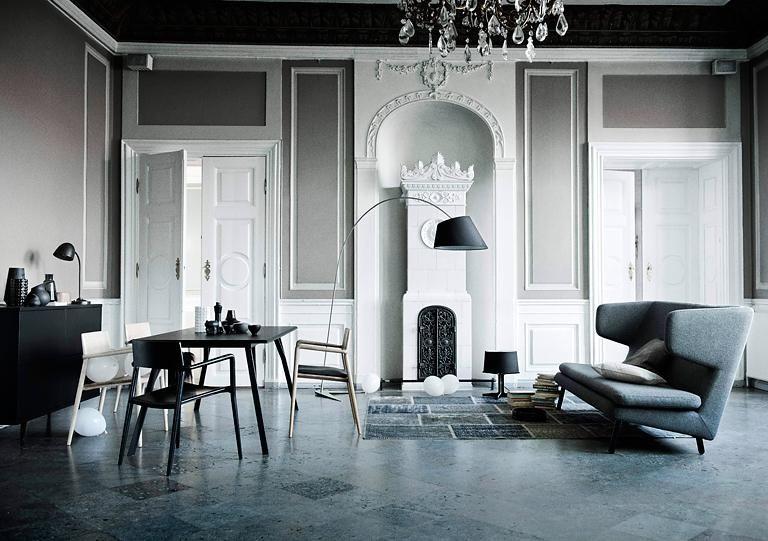 grau als wandfarbe klassisch farbakzente in wei und hellem grau pinterest sch ner wohnen. Black Bedroom Furniture Sets. Home Design Ideas