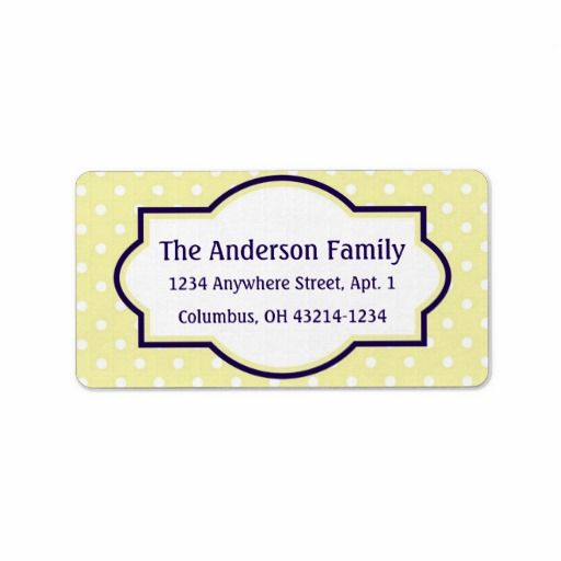 Yellow Blue & White Polka Dot Return Address Label