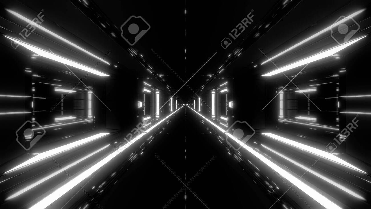 futuristic scifi space hangar tunnel corridor with hot metal 3d illustration wal futuristic scifi space hangar tunnel corridor with hot metal 3d illustration wal futurist...