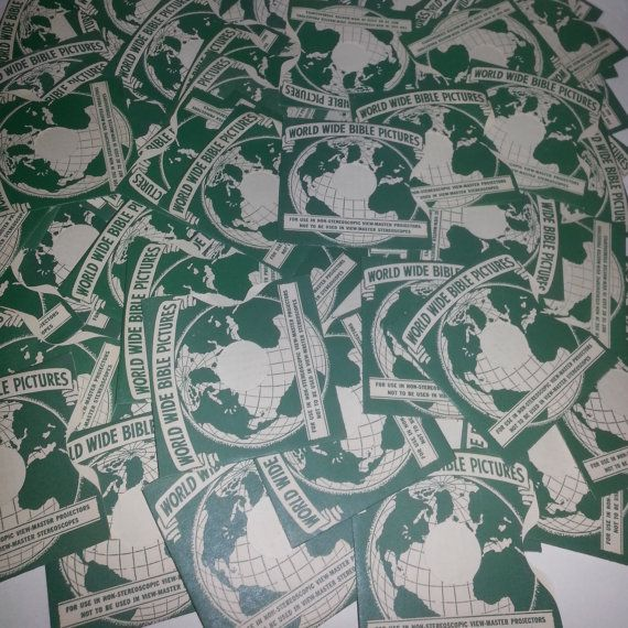 Vintage paper supplies green white viewmaster envelope lot globe altered art scrap scrapbooking projects