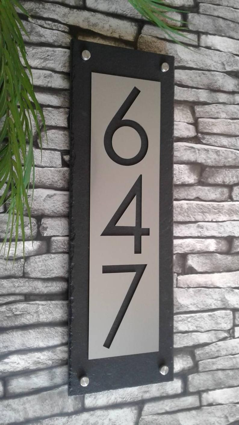 Mid Century Modern Home Address Sign Vertical Customized Etsy In 2020 House Address Sign Modern House Number House Numbers