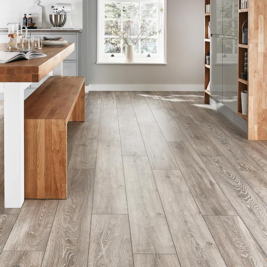 Howdens Professional Fast Fit V Groove Light Grey Oak Laminate Flooring 2 22m Pack Light Grey Oak Flooring Light Grey Flooring Gray Oak Floor